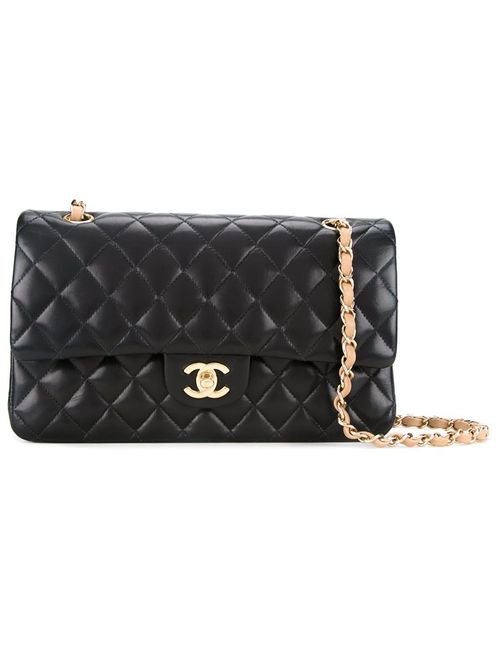 Chanel Vintage | Женское Чёрный Contrast Handle Quilted Shoulder Bag