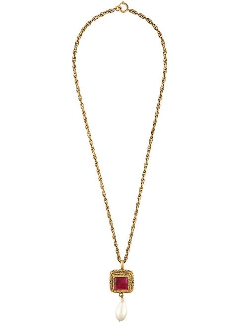 Chanel Vintage | Желтый Square Pendant Necklace