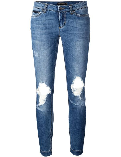Dolce & Gabbana | Женское Синий Pretty Jeans 42 Cotton/Calf Leather/Spandex/Elastane