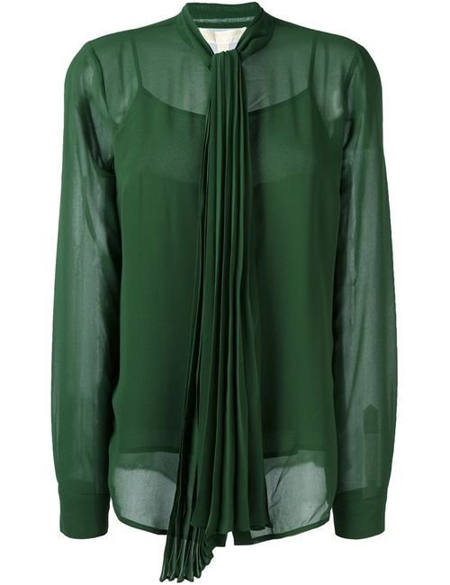 Michael Michael Kors | Женское Зелёный Pleated Bow Blouse Large Polyester