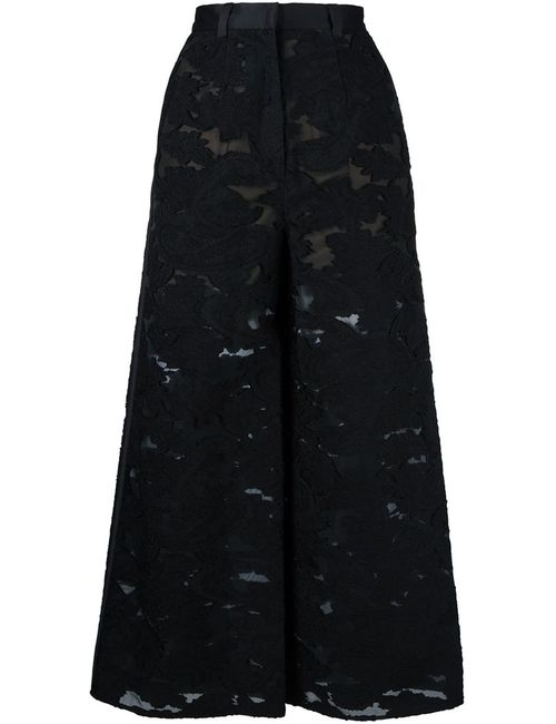 SELF-PORTRAIT | Черный Embroidered Wide Leg Trousers 6 Acrylic/Nylon/Polyester