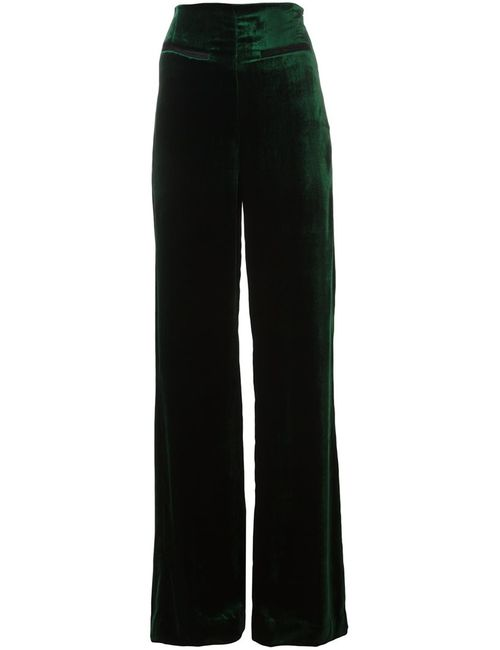 Haider Ackermann | Женское Зелёный Hiram Velour Straight Trousers 38 Silk/Cotton/Acetate/Rayon