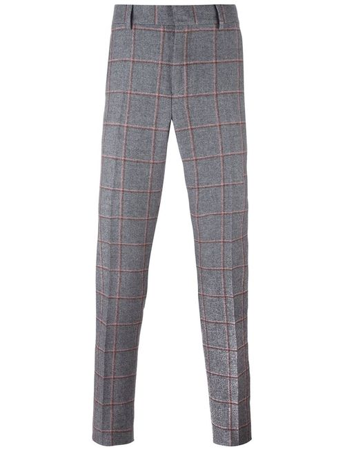 Bally | Серый Checked Tailored Trousers 46 Silk/Cotton/Wool