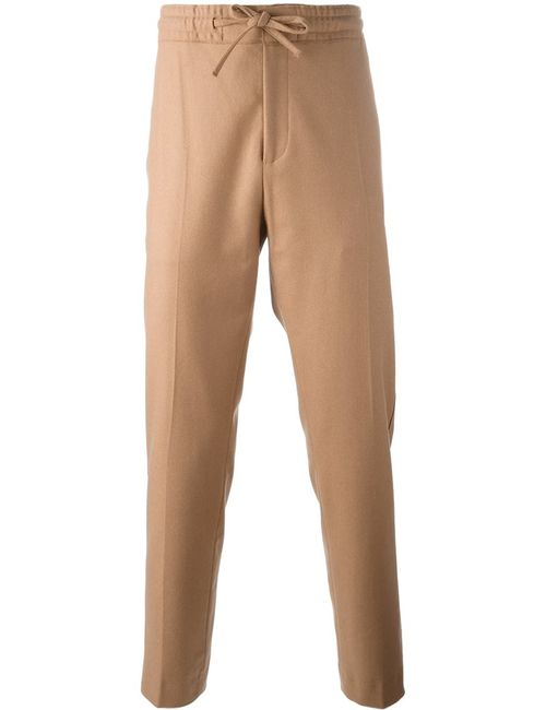 MSGM | Мужское Nude/Neutrals Drawstring Waistband Straight Trousers 48 Cotton/Polyamide/Virgin Wool