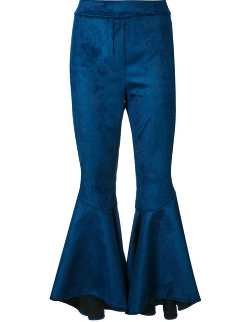 Ellery | Женское Синий Flared Corduroy Trousers 8 Silk/Cotton/Spandex/Elastane/Viscose