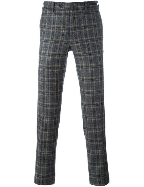Pt01 | Серый Checked Slim Fit Trousers 46 Virgin Wool