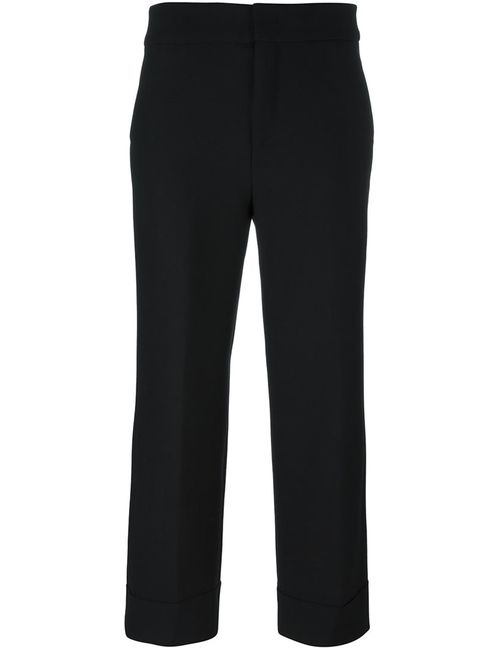 Pt01 | Женское Чёрный Front Pleat Cropped Trousers 42 Polyester/Spandex/Elastane/Virgin Wool