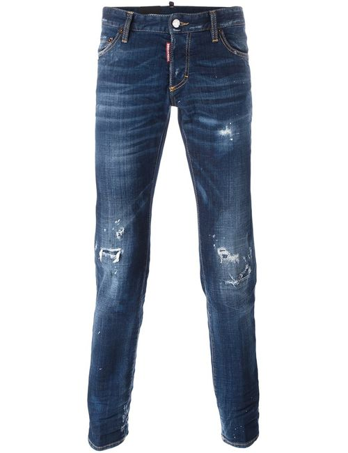 Dsquared2 | Синий Slim Jeans 48 Cotton/Calf Leather/Synthetic Enamel