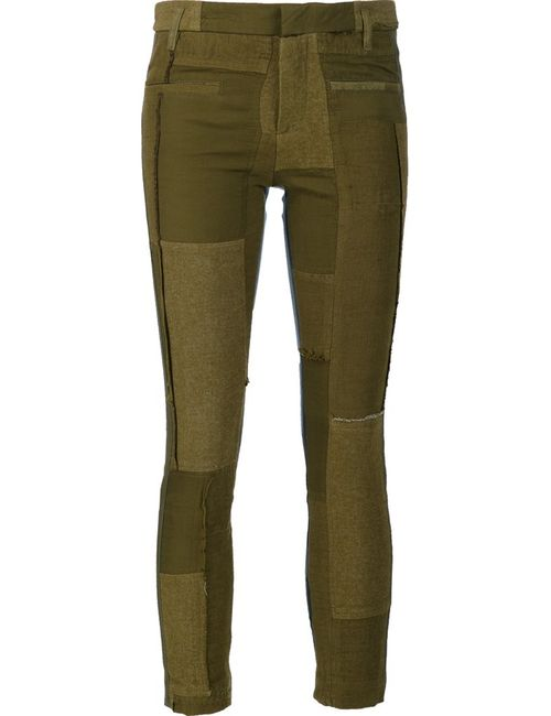Haider Ackermann | Женское Зелёный Patchwork Skinny Trousers 38 Cotton/Linen/Flax/Rayon