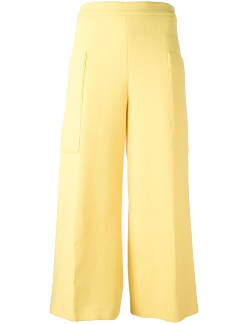 MSGM | Женское Желтый Wide-Legged Cropped Trousers 38 Polyester/Wool