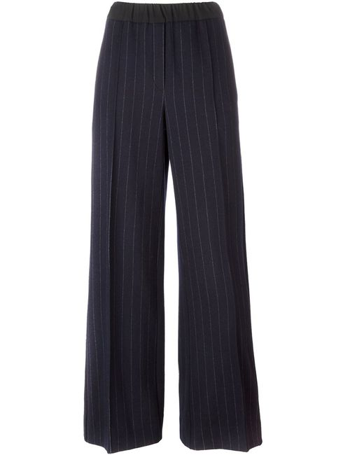 Odeeh | Женское Синий Pinstripe Wide-Legged Trousers 38 Cotton/Virgin Wool
