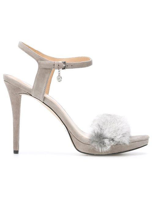 Michael Michael Kors | Серый Faye Fur Sandals 9 Leather/Rubber