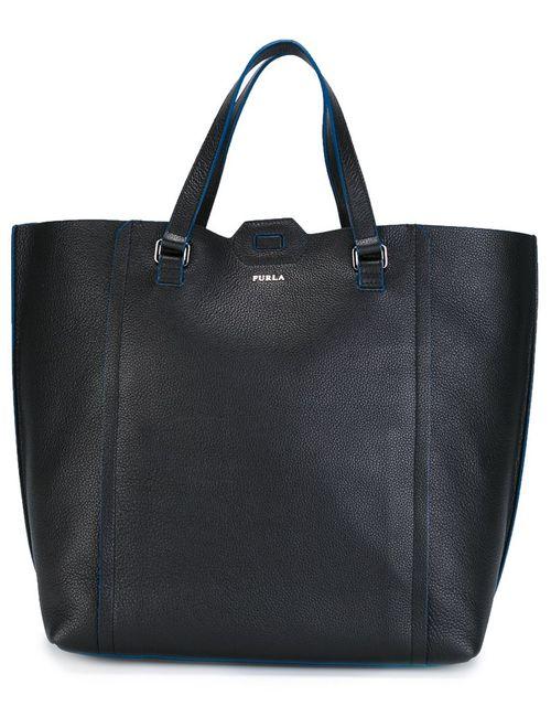 Furla | Чёрный Logo Plaque Tote Leather
