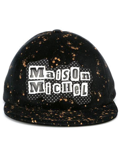 Maison Michel | Чёрный Splatter Print Cap Medium Velvet