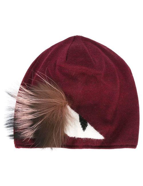 Fendi   Красный Bag Bugs Beanie Fox Fur/Wool