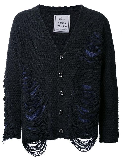 Maison Mihara Yasuhiro | Серый Frayed Textured Knit Cardigan 48