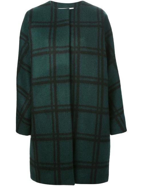 Marni | Женское Зелёное Свободное Пальто В Клетку