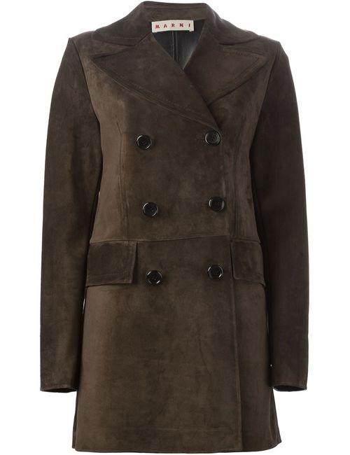 Marni | Женское Коричневое Двубортное Пальто
