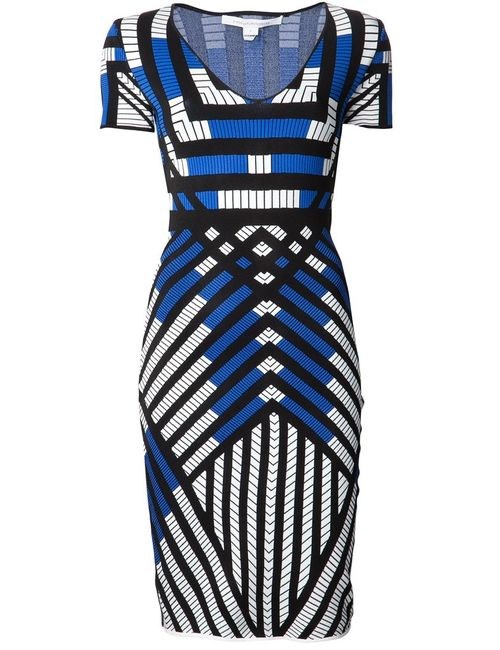 Diane Von Furstenberg | Женское Синий Multicolored Lorraine Knit Dress From Featuring A