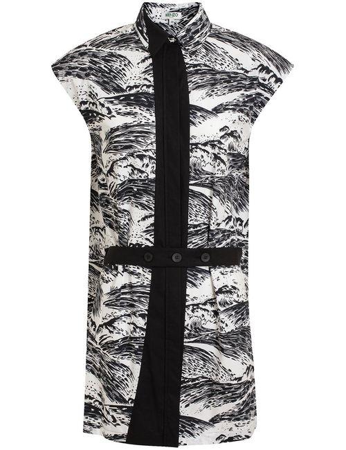 Kenzo   Женское Чёрное Платье С Волнистым Принтом