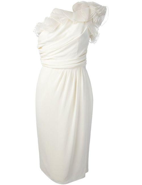Giambattista Valli | Женское Белое Платье На Одно Плечо