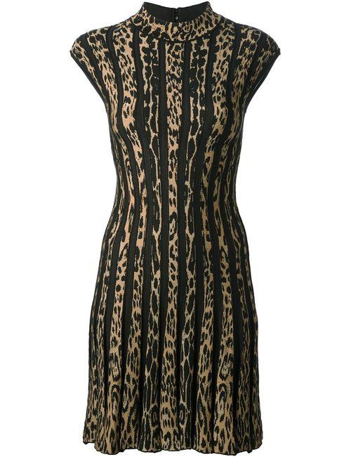 Roberto Cavalli | Женское Коричневый Virgin Wool Blend Leopard Print Striped Dress