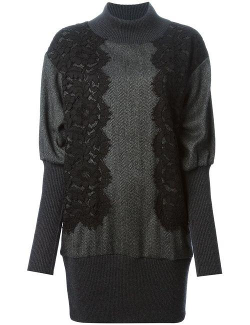 Dolce & Gabbana   Женское Серое Платье-Свитер С Кружевными Вставками