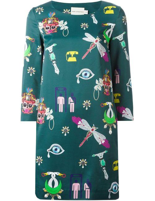 Mary Katrantzou | Женское Зелёное Платье Шифт