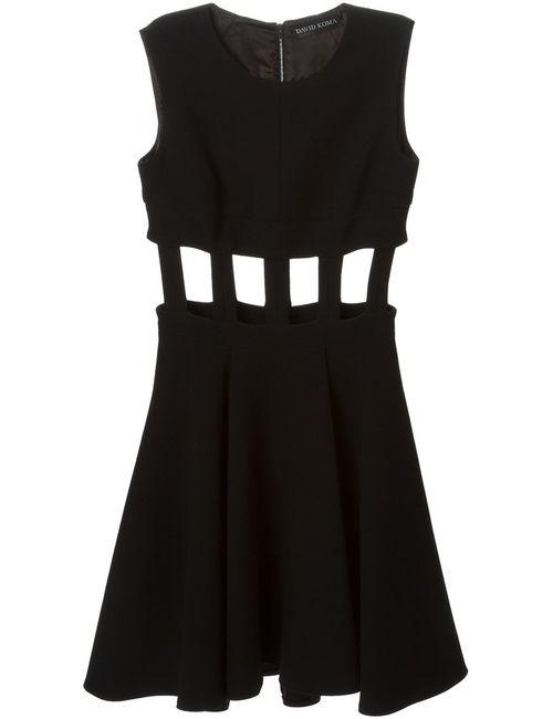 David Koma | Женское Чёрное Расклешенное Платье С Вырезами