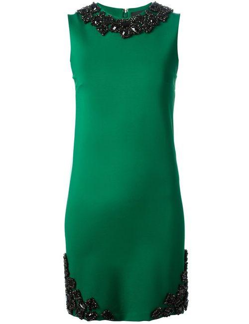 Dsquared2 | Женское Зелёное Декорированное Платье Шифт