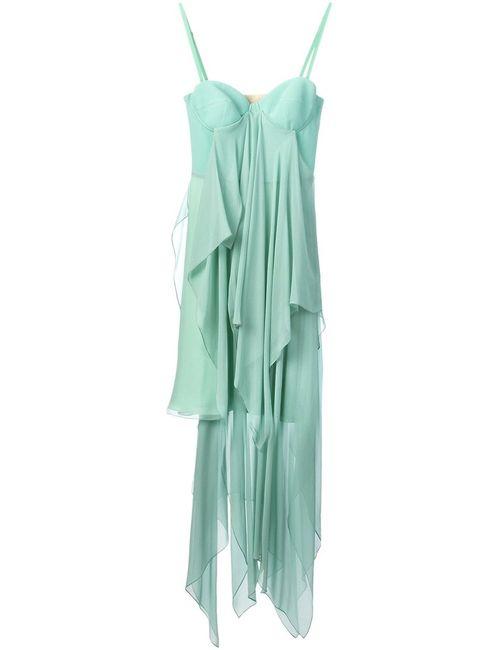 Marios Schwab | Женское Зелёное Многослойное Длинное Платье