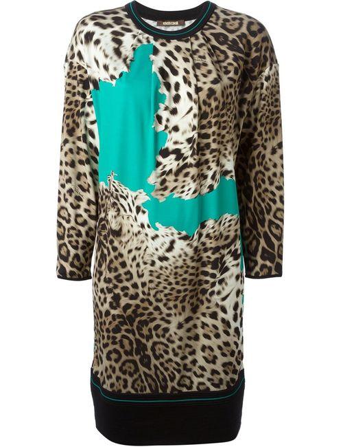 Roberto Cavalli | Женское Многоцветное Вязаное Платье С Леопардовым Принтом
