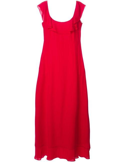 Valentino | Женское Красное Вечернее Платье С Оборками