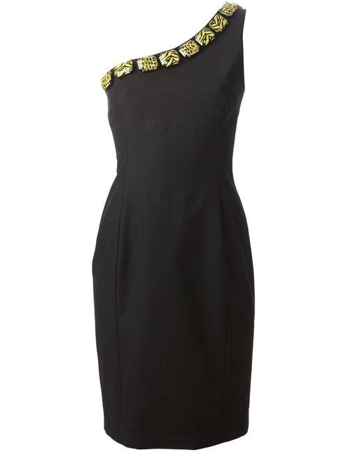 Moschino Cheap and Chic | Женское Чёрное Декорированное Платье На Одно Плечо