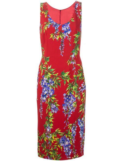 Dolce & Gabbana | Женское Красное Платье С Принтом Глицинии