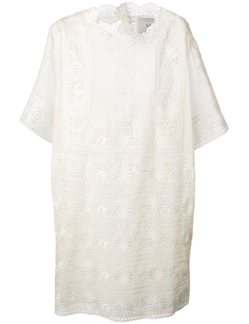 Valentino | Женское Белый Cotton Lace Panel Dress From Featuring A