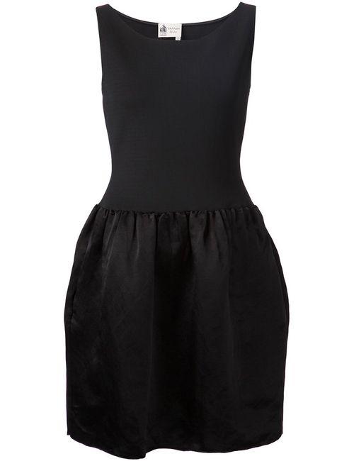 Lanvin   Женское Черный Linen Blend Contrasting Panel Dress From Featuring
