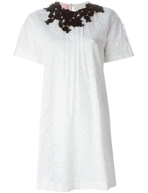 GIAMBA | Женское Белое Платье Бэби-Долл С Вышивкой