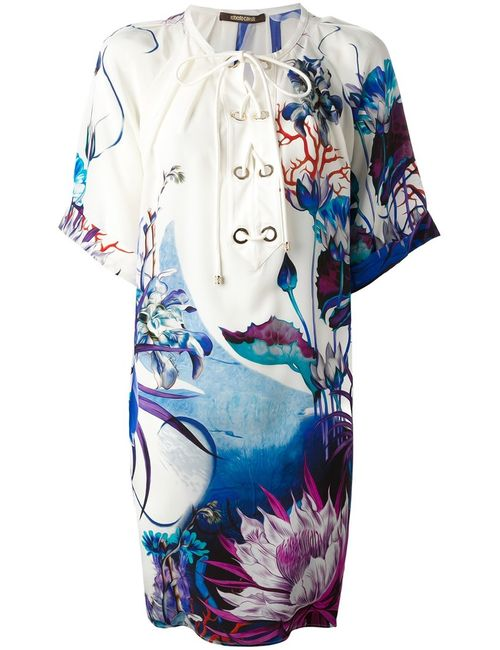 Roberto Cavalli | Женское Silk Drawstring Neck Printed Dress From