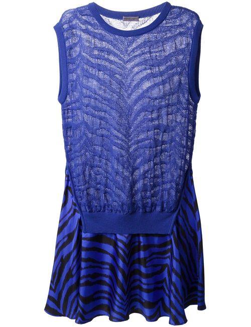 Emanuel Ungaro | Женское Синее Расклешенное Платье С Зебровым Узором