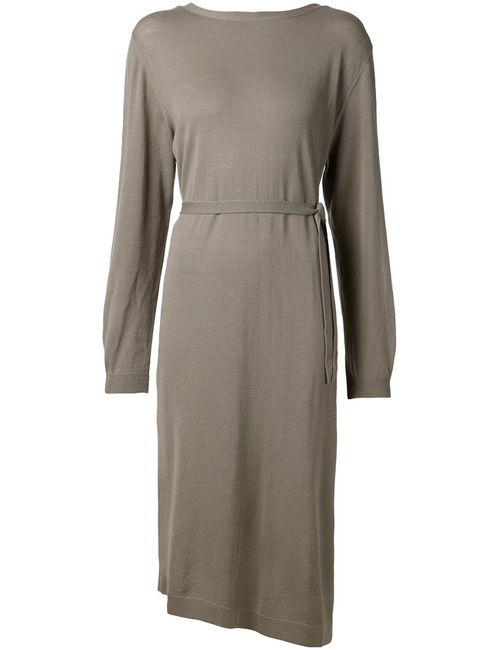 LEMAIRE | Женское Серый Virgin Wool Belted Knitted Dress From Christophe
