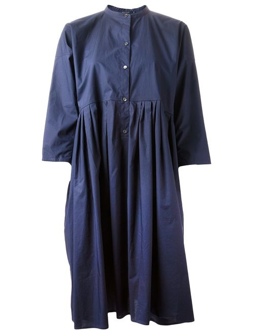 Sofie D'Hoore | Женское Indigo Cotton Oversized Band Collar Shirt Dress