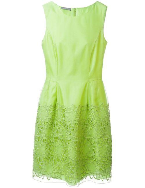 Alberta Ferretti | Женское Зелёный Pear Silk-Cotton Blend Embroidered Hem Dress From