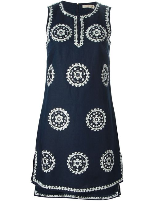Tory Burch | Женское Navy Cotton-Linen Blend Ethnic Print Dress From
