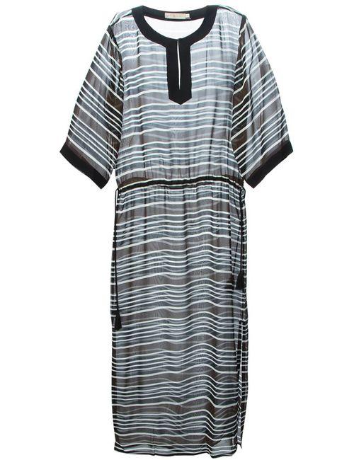 Tory Burch | Женское Чёрное Прозрачное Полосатое Платье Макси