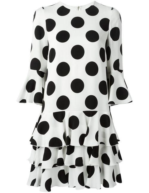 Dolce & Gabbana | Женское Белое Платье В Горох С Оборками