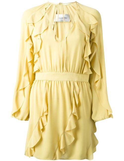 Valentino | Женское Nude Silk Ruffled Mini Dress From Featuring