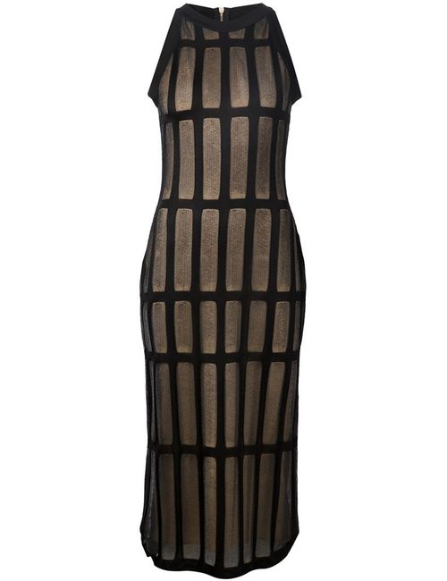 Balmain | Женское And Nude Fitted Grid Dress From Featuring