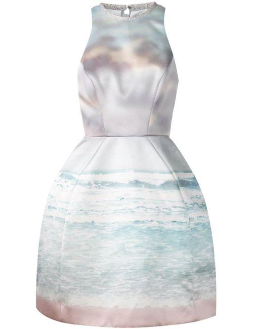 Monique Lhuillier   Женское Multicolour Multicoloured Silk Blend Sea Print Dress From