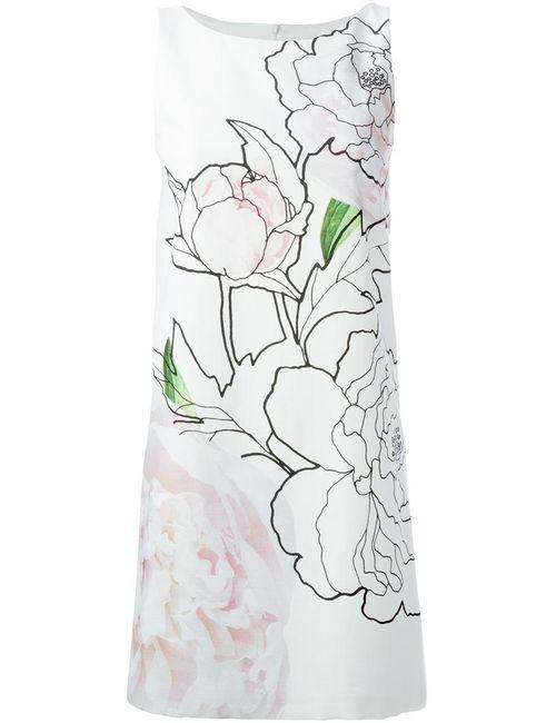 Paule Ka | Женское Белый Cotton Blend Flower Print Dress From